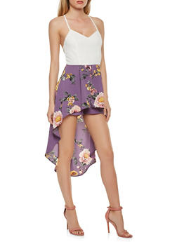 Floral High Low Romper - 1410069396923