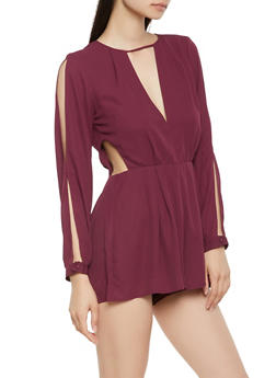 Slit Sleeve Cut Out Side Romper - 1410069396926