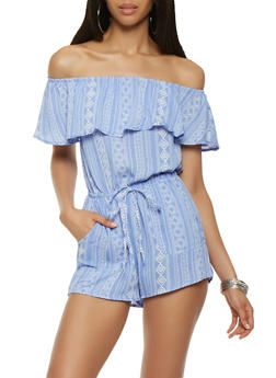 Printed Off the Shoulder Romper - 1410069396963
