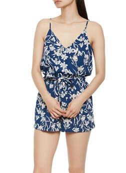 Floral Faux Wrap Romper - 1410069396971
