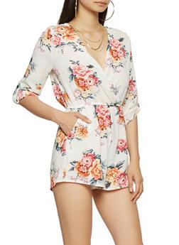 Floral Faux Wrap Romper - 1410069396976