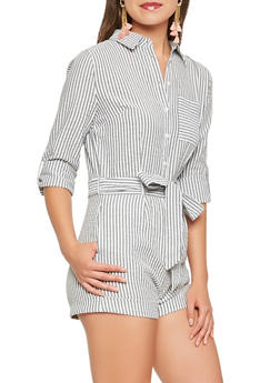 Striped Seersucker Tie Waist Romper - 1410069396984