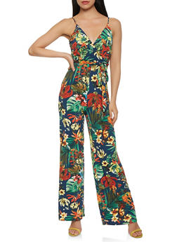 Floral Wide Leg Jumpsuit - 1410069396999