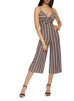 Striped Tie Front Cropped Jumpsuit - 1410069397014