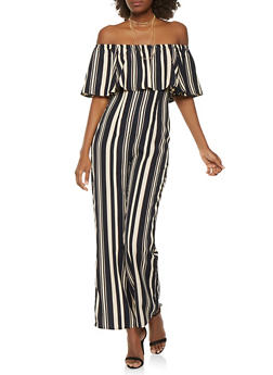 Striped Off the Shoulder Wide Leg Jumpsuit - 1410069397023