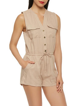 Button Front Linen Romper - 1410069397052