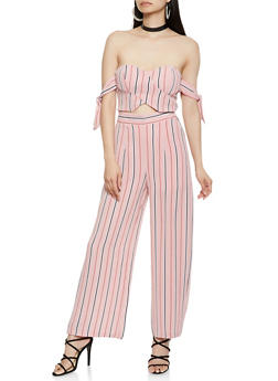 Striped Off the Shoulder Cut Out Jumpsuit - 1410069397057