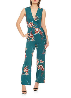Floral Faux Wrap Wide Leg Jumpsuit - 1410069397100