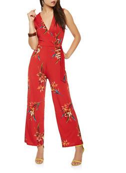 Floral Faux Wrap Wide Leg Jumpsuit - 1410069397100