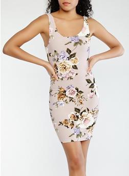 Floral Mini Tank Dress - 1410069397407