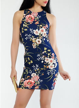 Floral Tank Dress - 1410069398413
