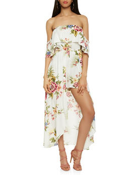 Printed Off the Shoulder Maxi Romper - 1410069398420