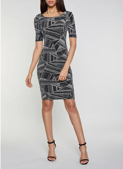 Glitter Knit Bodycon Dress - 1410069398935