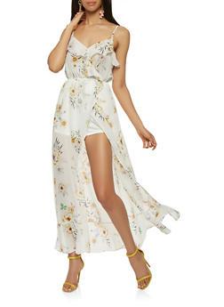 Floral Faux Wrap Maxi Romper - 1410069399128