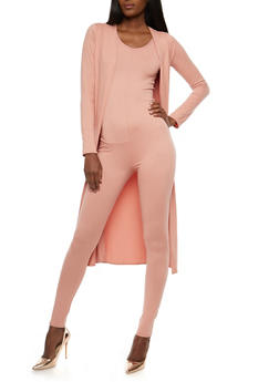 Soft Knit Catsuit and Duster Set - 1410072240051