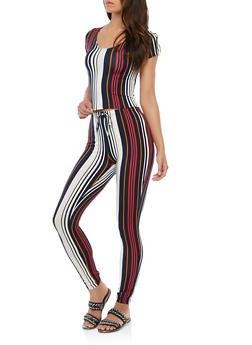 Striped Top and Pants Set - 1410072240052