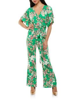 Floral Faux Wrap Jumpsuit - 1410072241023