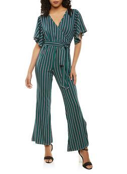 Striped Faux Wrap Jumpsuit - 1410072241655