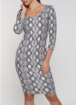 Snake Print Bodycon Dress - 1410072242365