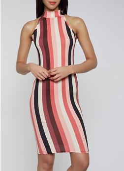 Striped Sleeveless Mock Neck Dress - 1410072242773