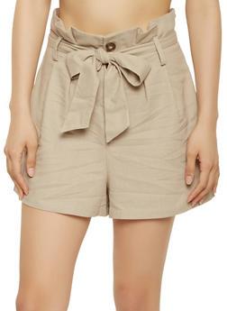 Paper Bag Waist Linen Shorts | 1411054211512 - 1411054211512
