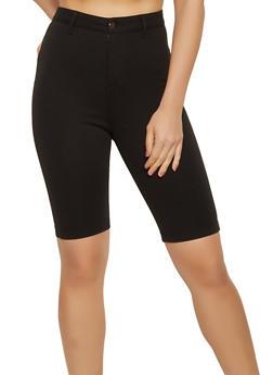 High Waisted Ponte Bermuda Shorts - 1411056570617