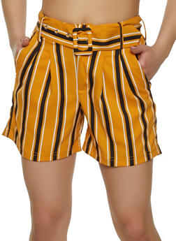 Belted Striped Shorts - 1411056571379