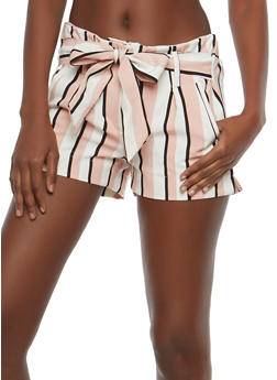 Striped Tie Waist Shorts - 1411056572260