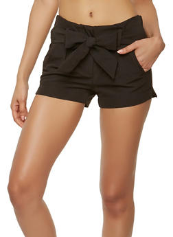 Tie Front Shorts - 1411056572312