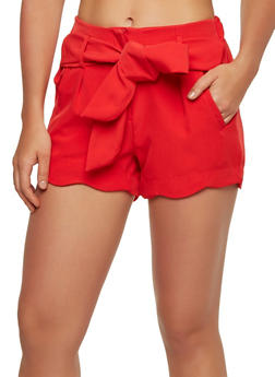 Scalloped Hem Tie Waist Shorts - 1411056573211