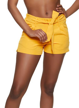 Tie Front Dress Shorts - 1411056573213