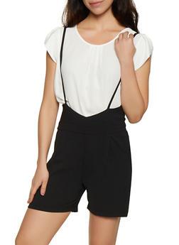 Crinkled Suspender Shorts - 1411056574431