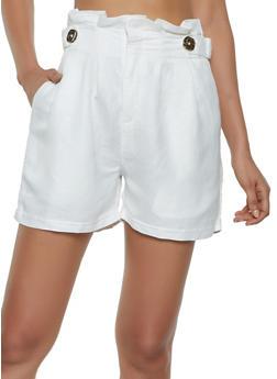 Linen Paper Bag Waist Shorts - 1411056574581
