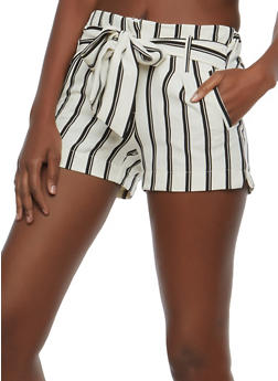 Striped Tie Front Shorts - 1411056577004