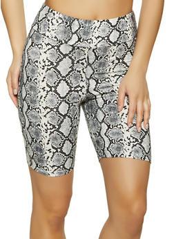Soft Knit Printed Bike Shorts - WHITE - 1411066495572