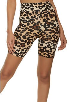 Soft Knit Printed Bike Shorts - TAN - 1411066495572