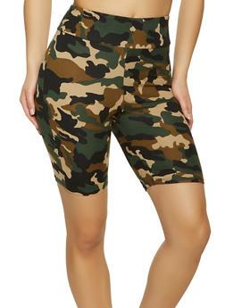 Soft Knit Printed Bike Shorts - GREEN - 1411066495572