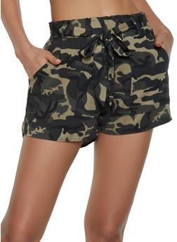 Camo Tie Waist Shorts - 1411068193299