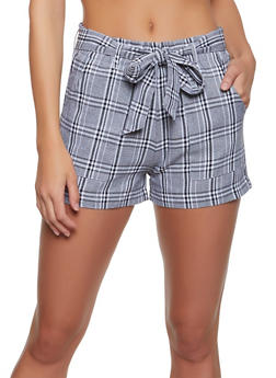 Plaid Belted Shorts - 1411068195013