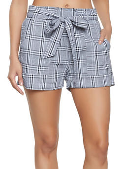Tie Waist Plaid Shorts - 1411068195210
