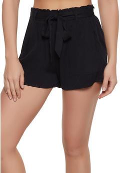 Twill Ruffled Shorts - 1411068196242
