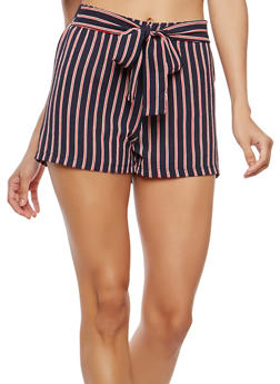 Striped Crepe Knit Tie Front Shorts - 1411068512775
