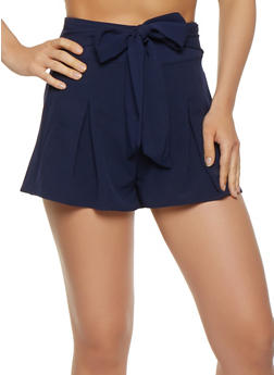 Tie Front Pleated Shorts - 1411069390157