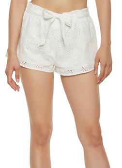 Tie Waist Eyelet Shorts - 1411069393026