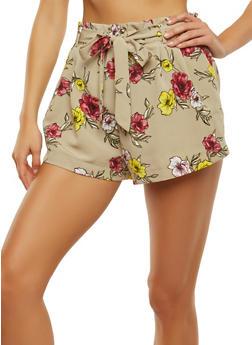 Floral Tie Waist Shorts - 1411069393028