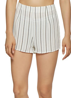 Striped Zip Back Shorts - 1411069393034