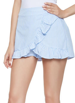 Striped Ruffle Mini Skort - 1411069394611