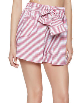 Striped Tie Front Overlay Shorts - 1411069396411