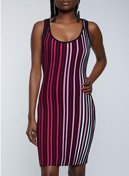 Striped Knit Tank Dress - 1412015990719