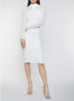 Mesh Sleeve Sweater Dress - 1412015991030